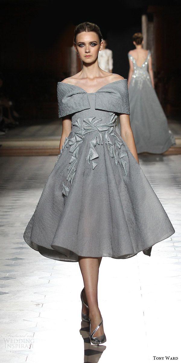 98801e6b8876 tony ward couture fall winter 2015 2016 look 14 off shoulder knee length  dress gray grey applique