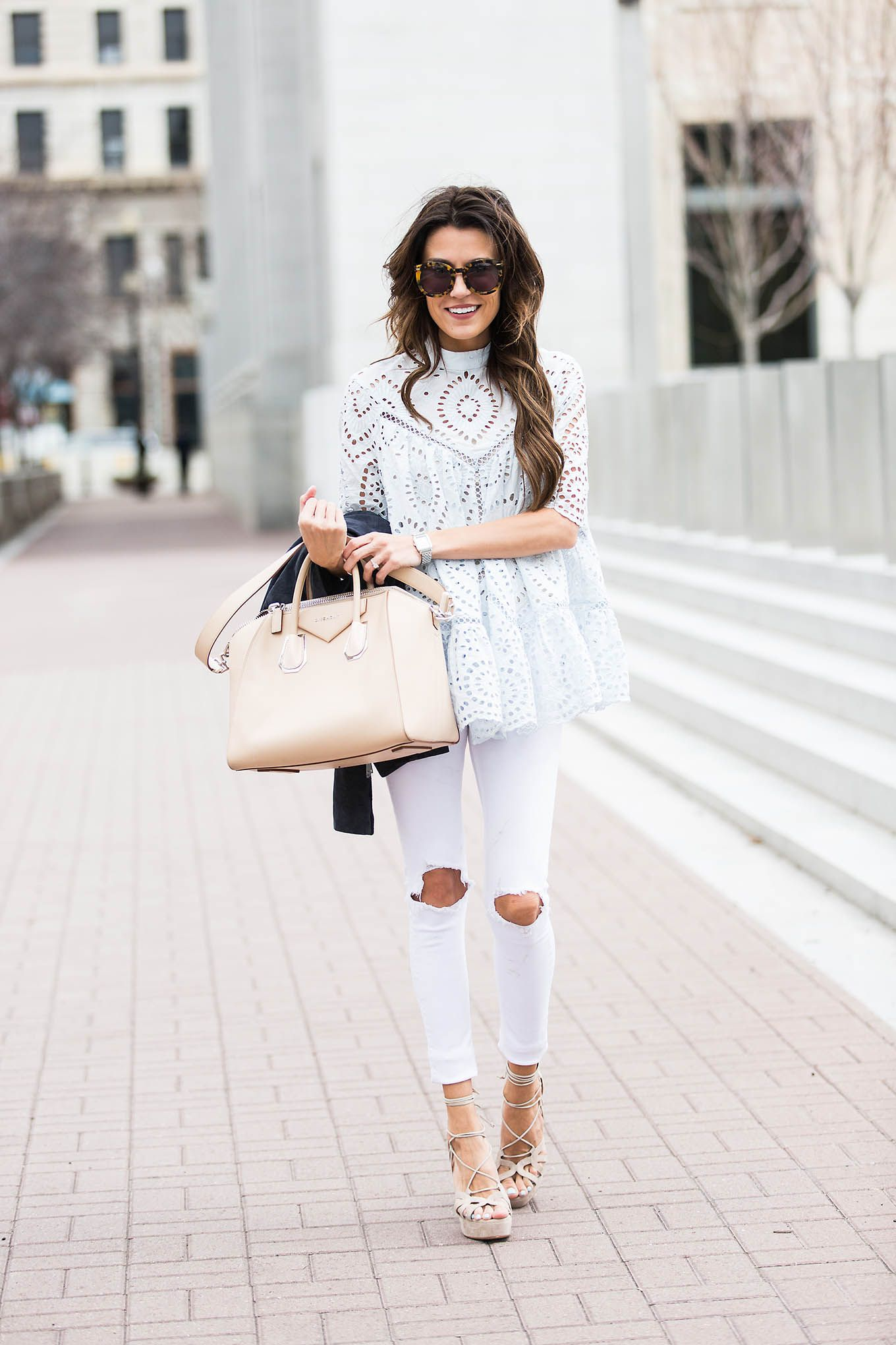 a83f236ef8 ... White Shirt and Beige Sandals. The Must-Have Statement Sandal For  Spring