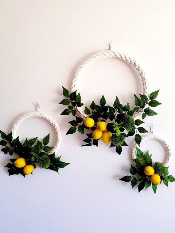 Photo of Modern Hoop Wreaths, Lemon Wreaths,  Lemon Wall Decor, Nursery Wreath Set, Photography Backdrop