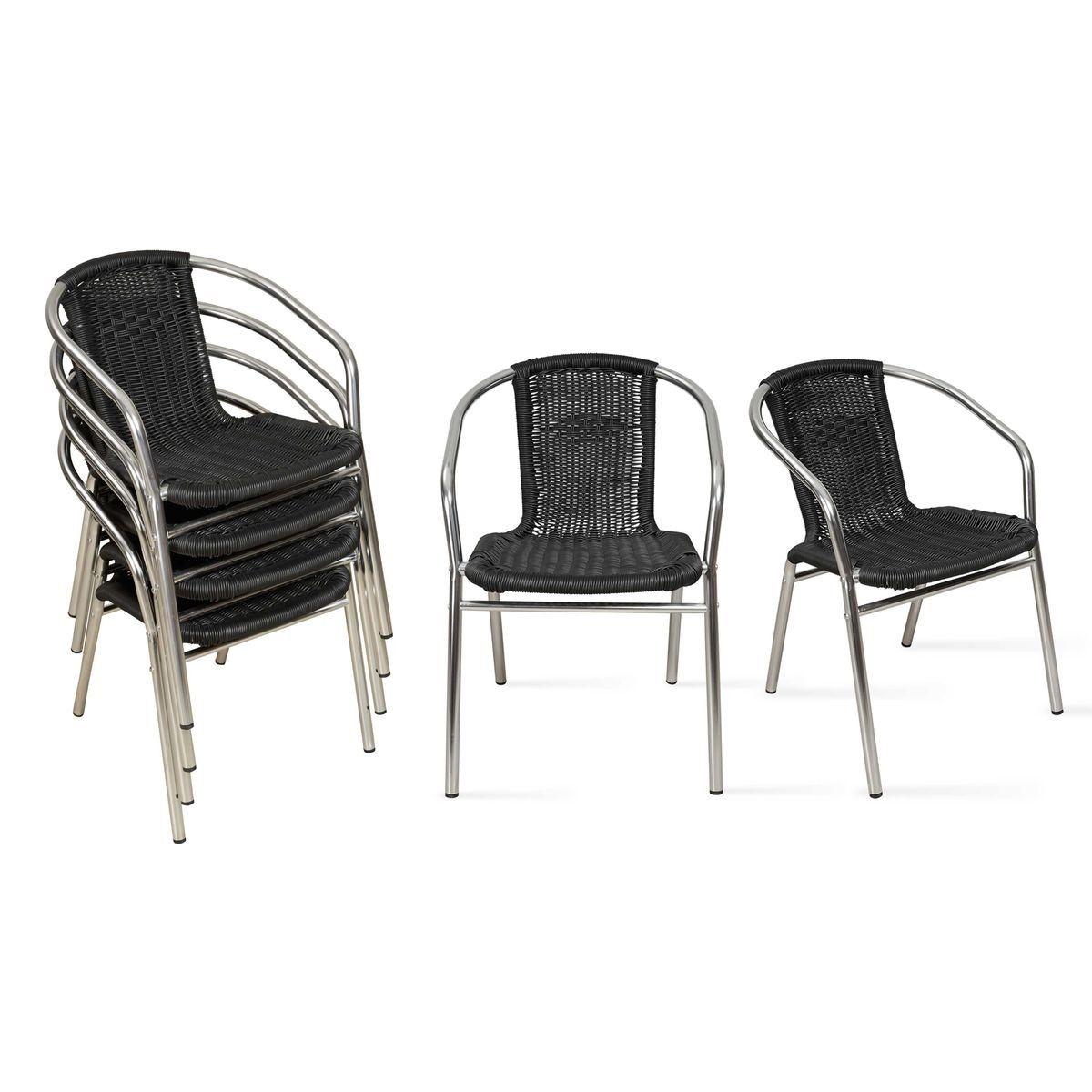 Table De Jardin Carrée Et 2 Fauteuils En Aluminium - Taille ...
