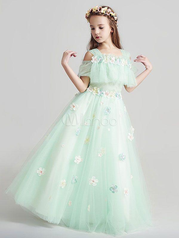 ddc9d1346cd8 Flower Girl Dresses Applique Tulle Floor Length Cold Shoulder Pastel ...