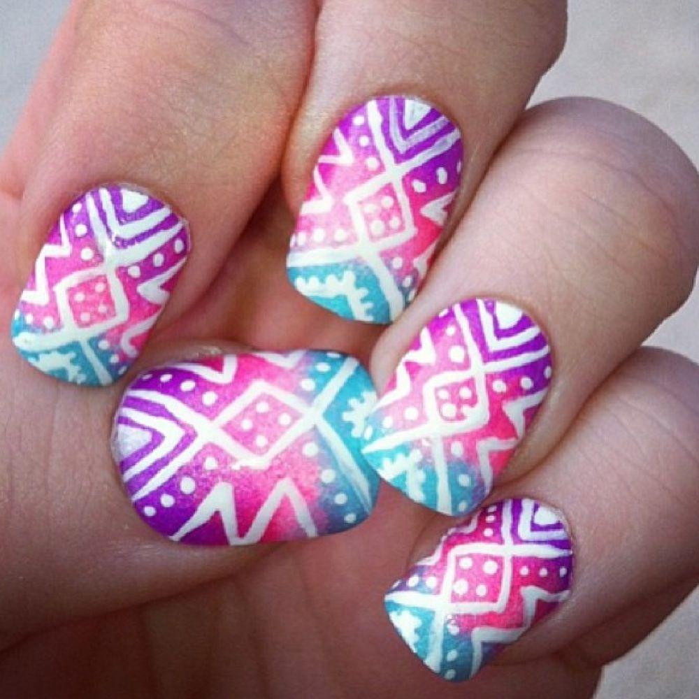 gradient aztec nails nail inspiration