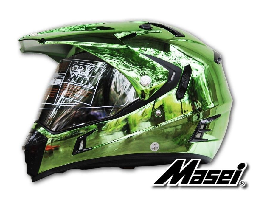 masei helmet 311 green chrome motocross atv off-road dirt bike