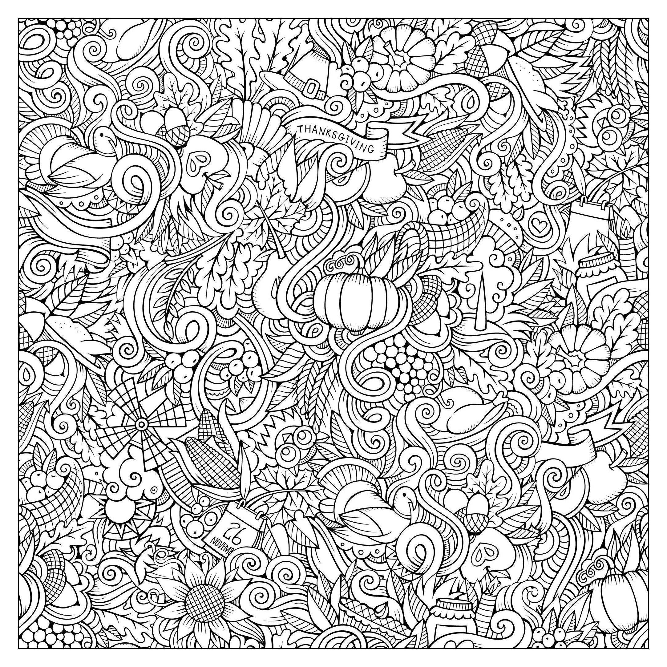 Hand Drawn Doodles To Color On The Subject Of Thanksgiving Autumn Thanksgiving Coloring Pages Fall Coloring Pages Free Thanksgiving Coloring Pages [ 2166 x 2166 Pixel ]