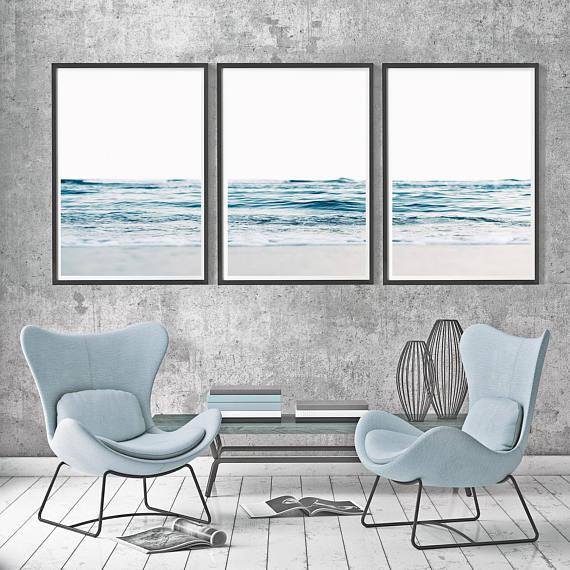 Blue Waves Posters 3 Piece Waves Ocean Waves Set Large Waves Set 3 Minimalist Waves Set Triptych Waves Art Coastal Set Of 3 Beach Set Of 3 Ocean Wall Art Coastal Wall Art Coastal Prints