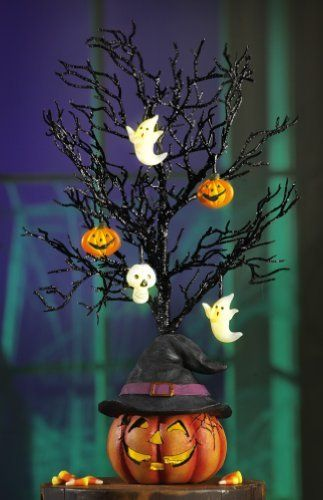 halloween decorations halloween lighted black glitter halloween tree decoration - Halloween Tree Decorations
