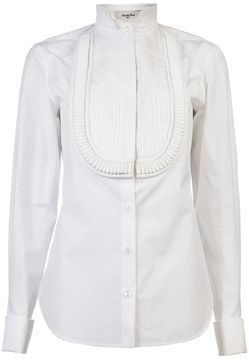 d2b05df9569e6a Rue Du Mail Pleated bib shirt - ShopStyle Button Front