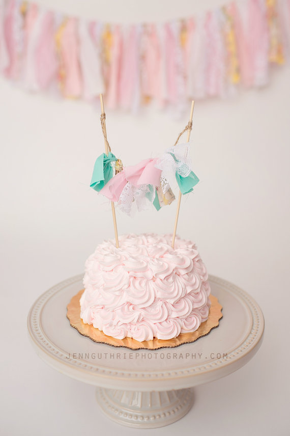 Rag Tie Cake Garland Shabby Chic Cake Topper Birthday Cake Topper