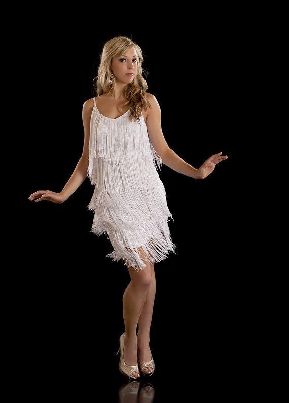 Beautiful Fringe Flapper 1920\'s Charleston Dress. White S, L, XL ...