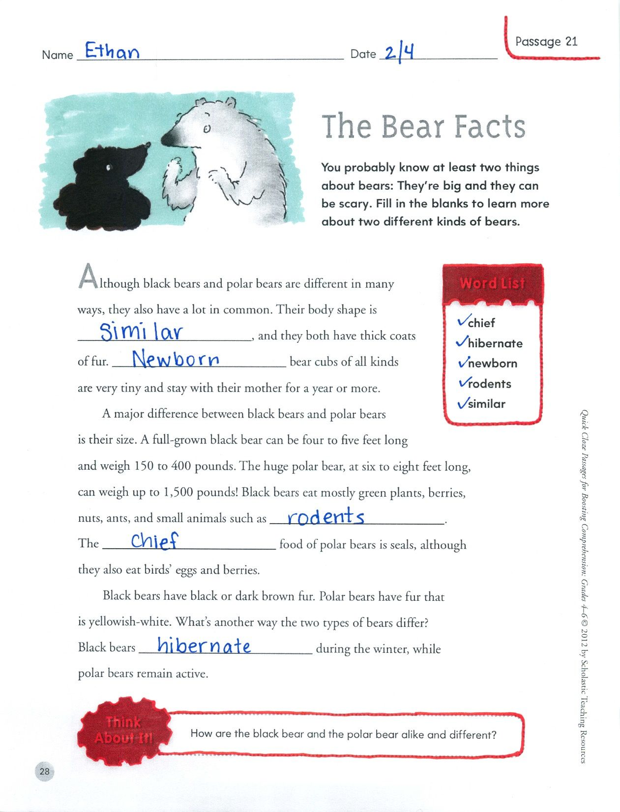 You Probably Know At Least Two Things About Bears They Re Big And They Can Be Scary Students Read The Passage And Use Cloze Passages Student Reading Passage [ 1653 x 1261 Pixel ]