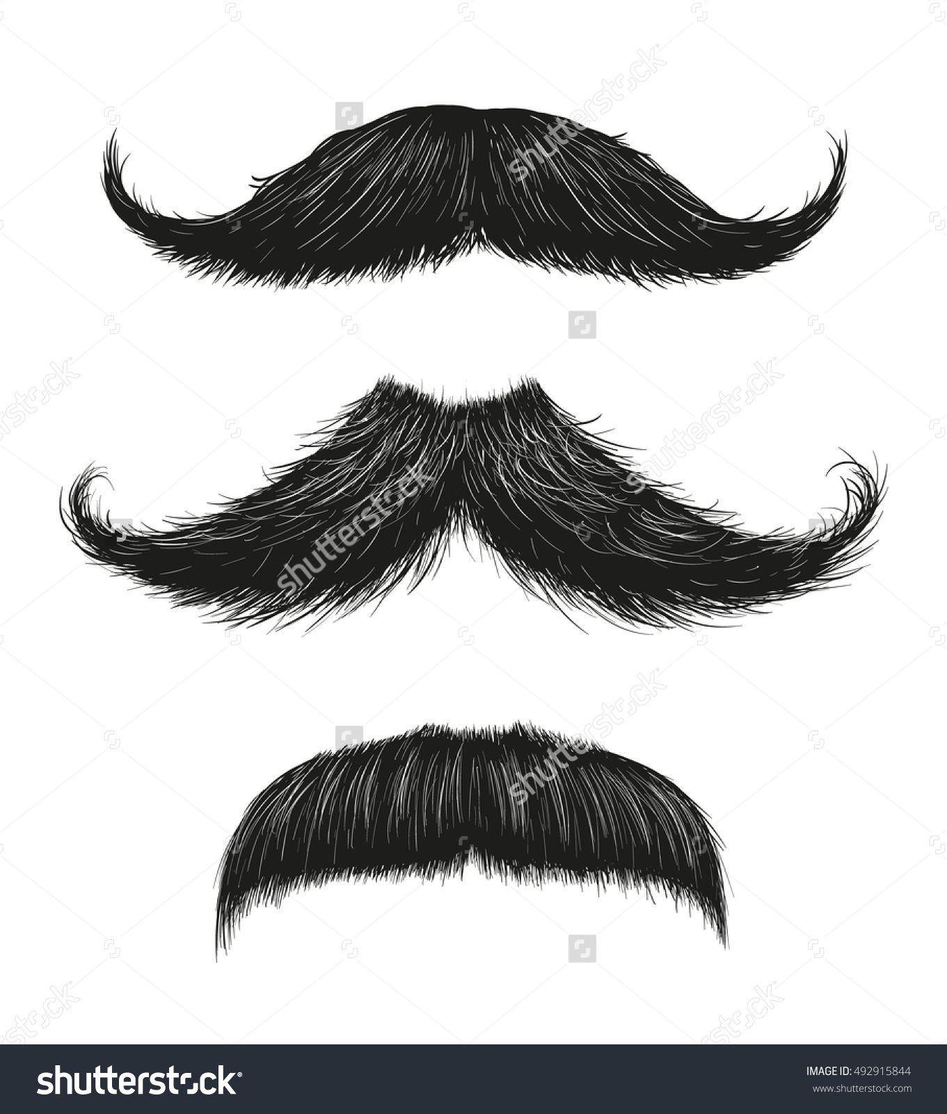 Three hand drawn vector mustaches. Fashionable old facial hair styles.