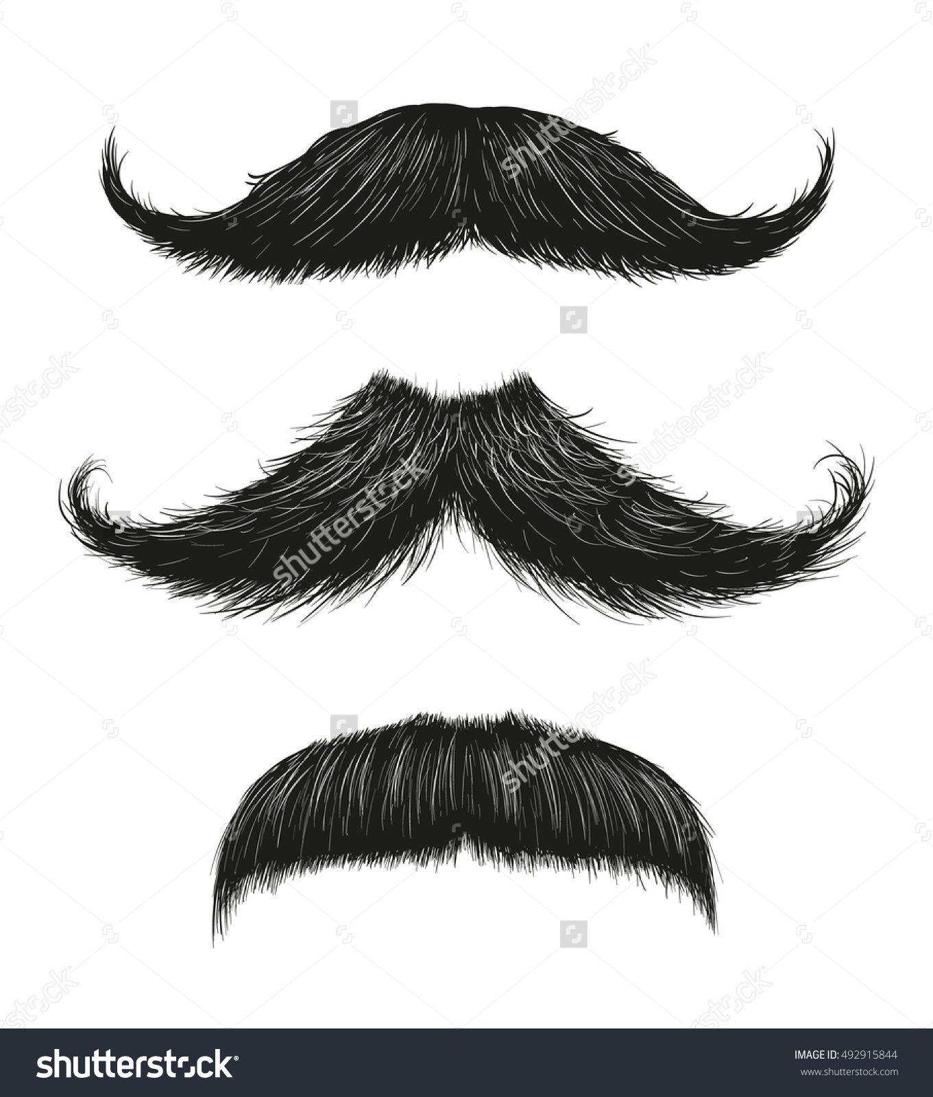 Three Hand Drawn Vector Mustaches Fashionable Old Facial Hair