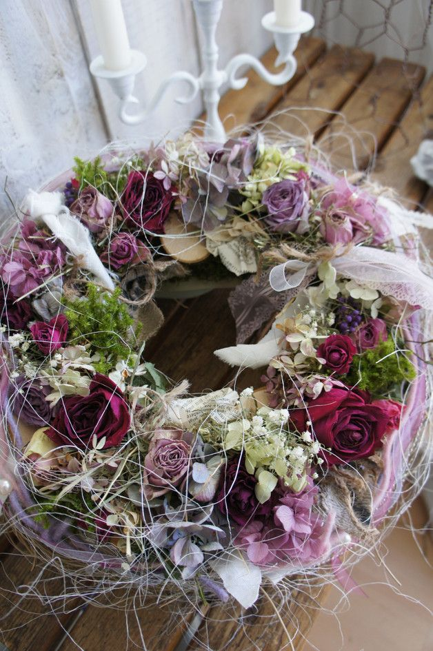 """Photo of Wreaths – wreath """"In love with roses …."""" – a designer piece by Hoimeliges be …"""