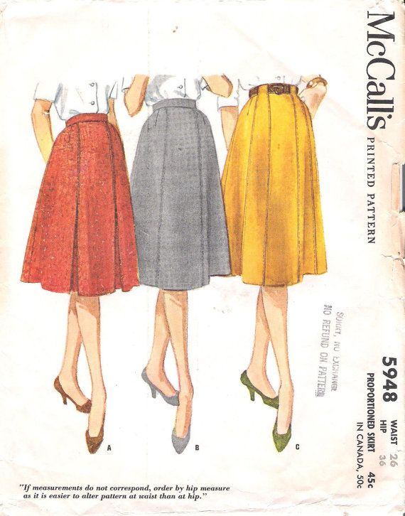 Close Out 1960s Mccalls 5948 Uncut 6 Gore Flared Skirt Vintage