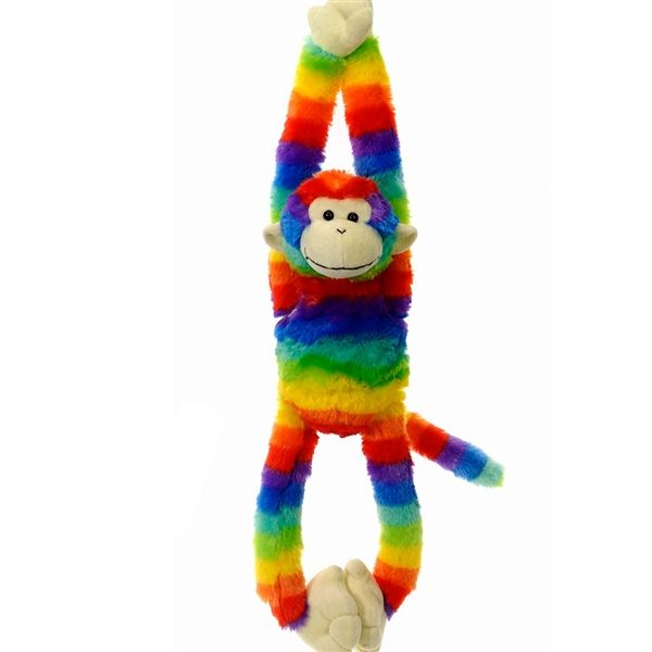 Hanging Rainbow Print Stuffed Monkey With Velcro Hands By Fiesta