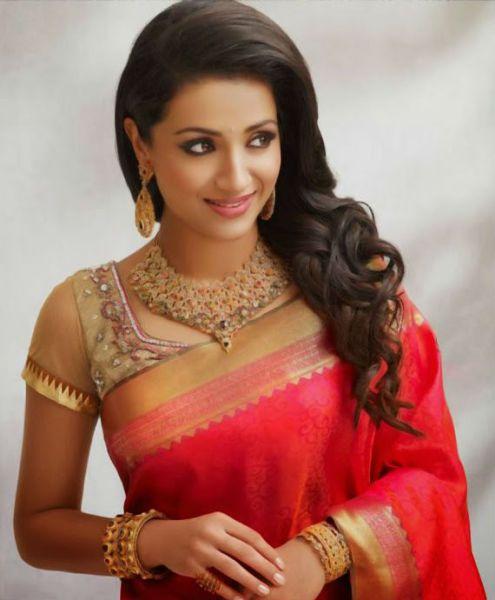 10 Best Hairstyles For Traditional Sarees Indian Celebrities Beautiful Saree Trisha Saree