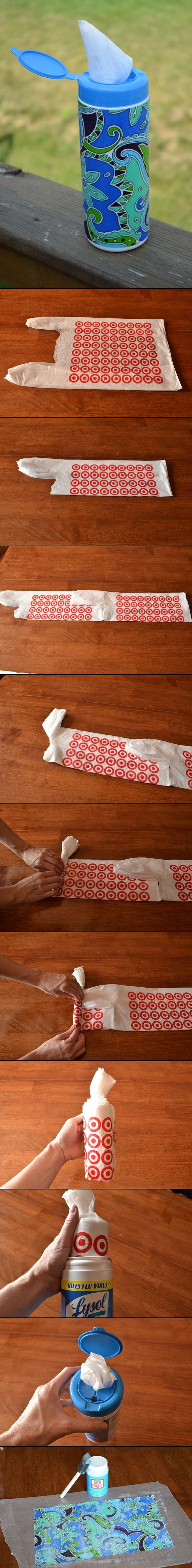 Make an embellished grocery bag container! Plastic bag