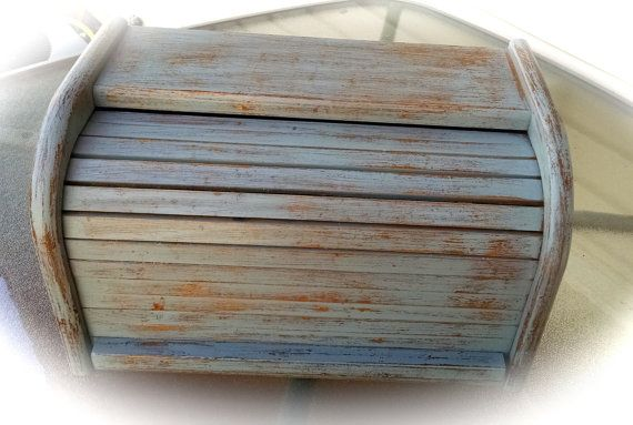Bread Box Up-cycled Wooden Shabby Chic Bread Box  by moldyoldies
