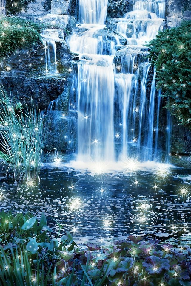 Wall Mural Magic Night Waterfall Scene Wild Pixersize Com Waterfall Pictures Waterfall Photo Forest Waterfall