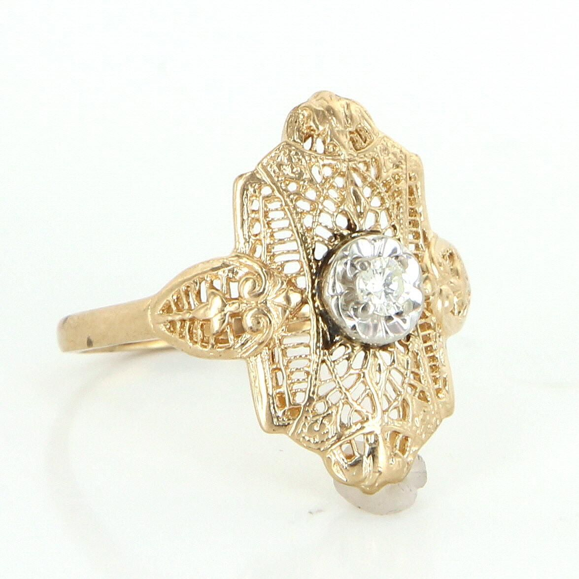 Diamond Filigree Ring Vintage 10 Karat Yellow Gold Estate Fine Jewelry Pre Owned Filigree Ring Vintage Rings Fine Jewelry