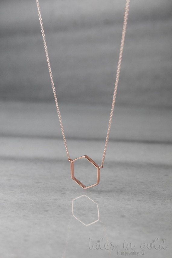 Geometric Necklace Rose Gold Necklace 14K Gold Necklace Rose Gold