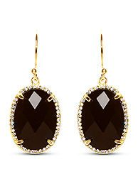 Belk Silverworks Gold Plated Sterling Silver Black Agate With Cubic Zirconia Drop Earrrings
