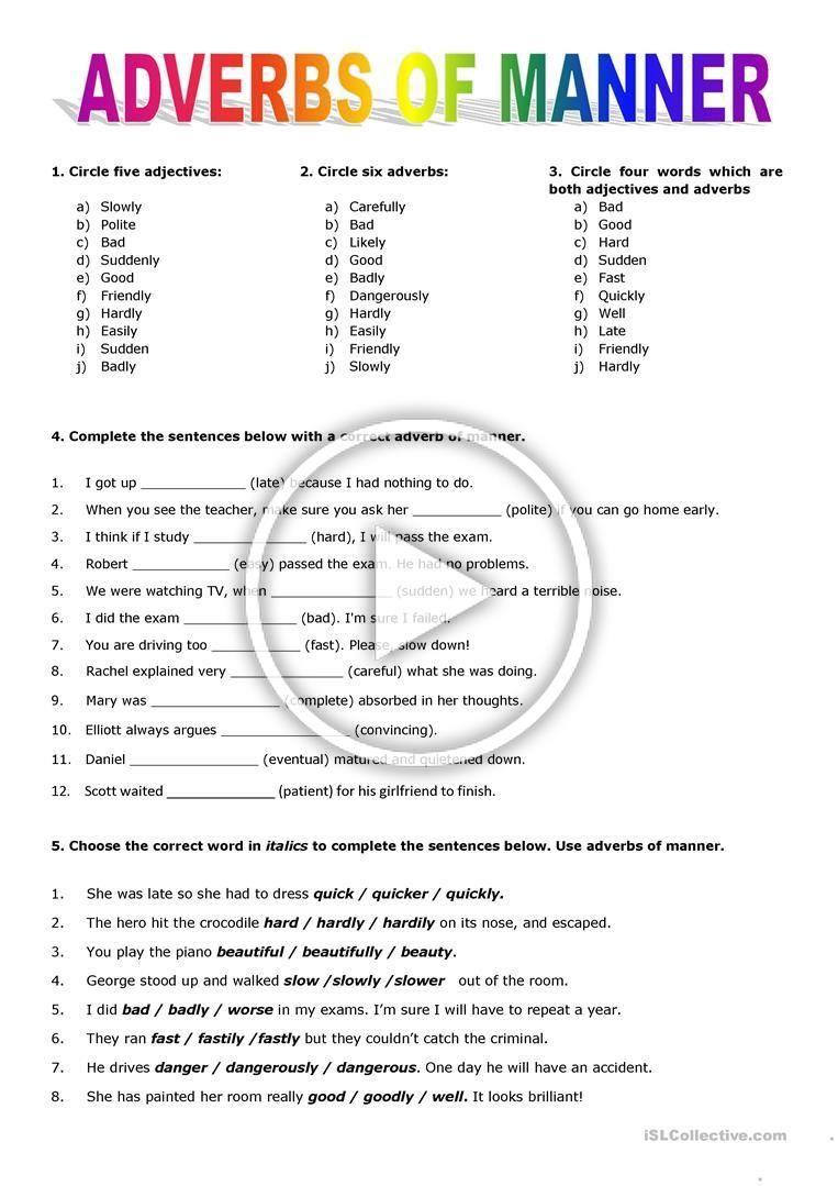 Adverbs Of Manner Worksheet Free Esl Printable Worksheets Made