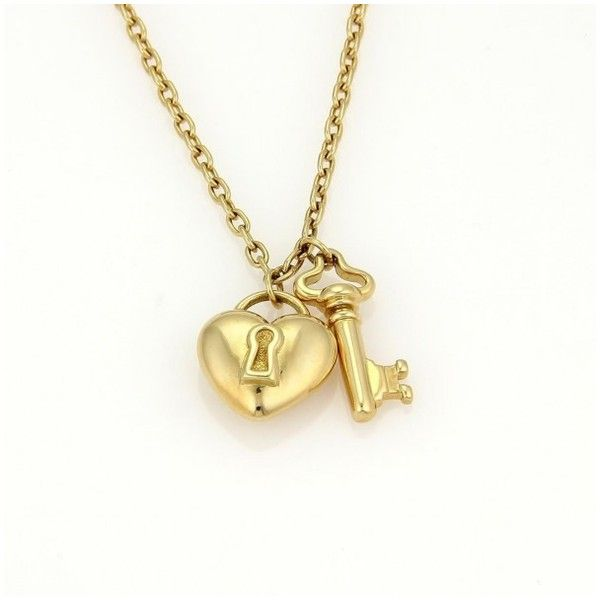 224880a02 Pre-owned Tiffany & Co.18K Yellow Gold Puff Heart Lock & Key Pendant...  ($1,550) ❤ liked on Polyvore featuring jewelry, necklaces, heart pendant,  ...