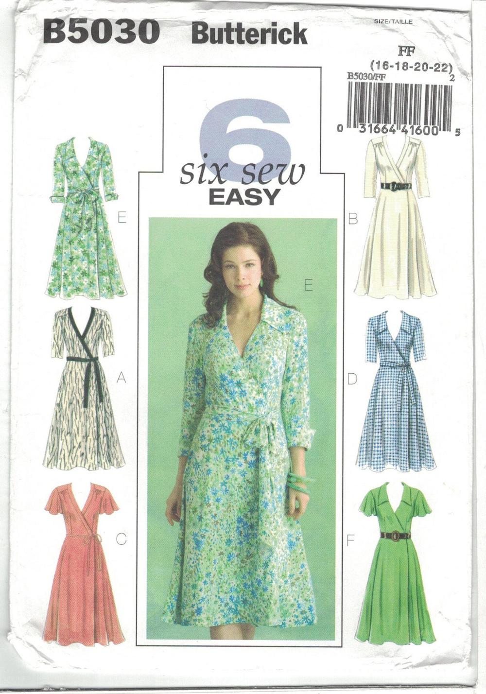 Butterick 5030 Wrap Dress Pattern Tie Waist Plus Size 16 18 20 Etsy Wrap Dress Pattern Wrap Dress Sewing Patterns Womens Wrap Dress [ 1428 x 1000 Pixel ]
