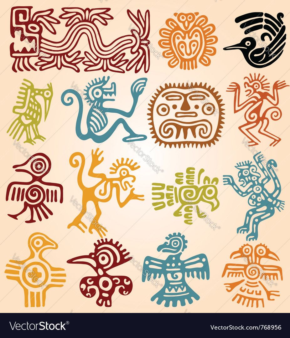 Aztec Chameleon Tattoo: Set - Mexican Symbols Vector Image On