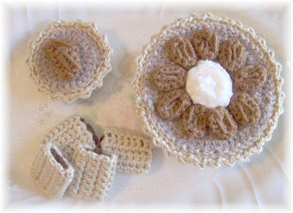 Ganchillo mantequilla nuez tartas y galletas Fig por KTBdesigns