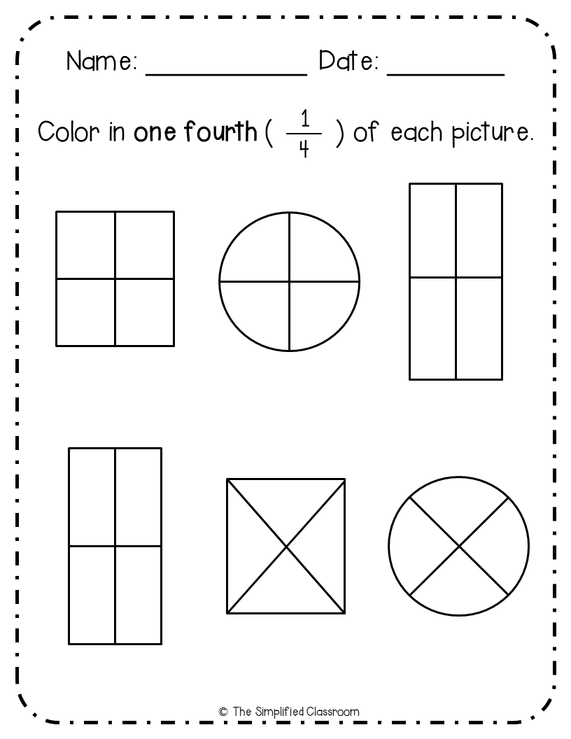 Worksheet First Grade Fractions first grade no prep fractions pack color in matching sorting worksheet by the simplified classroom