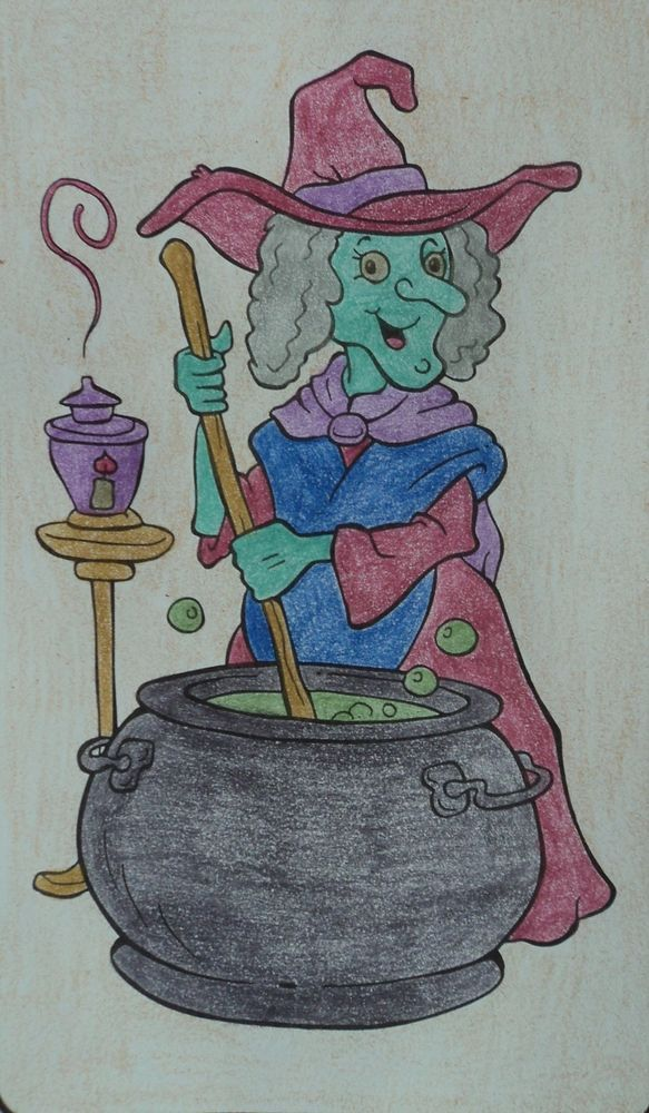 Halloween Spooky Coloring Book Page Art Witch Spell Magic Colored ...
