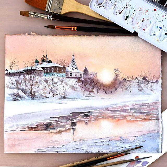 Watercolorist Obabkova Elena Waterblog Akvarel Aquarelle