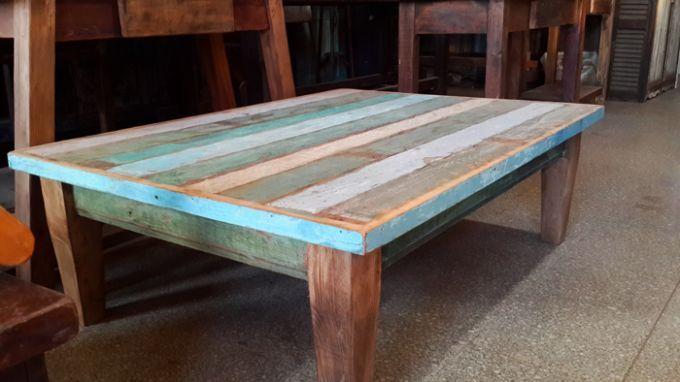 Mesa ratona con fajas de colores a pedido antigua madera for Mesa ratona