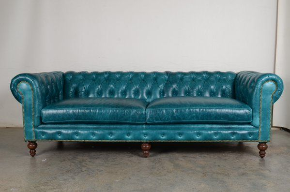Our Classic Chesterfield In Cortina Teal Leather Tufted Sofa