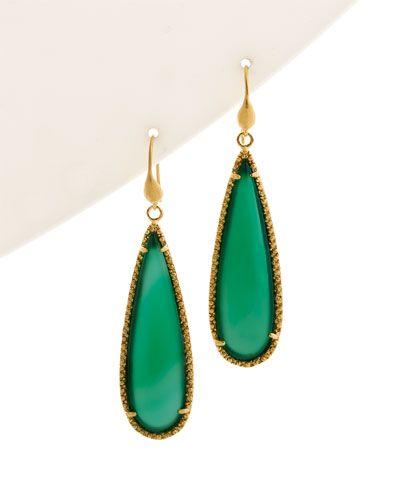Rivka Friedman 18K Plated Cabochon Gemstone Earrings