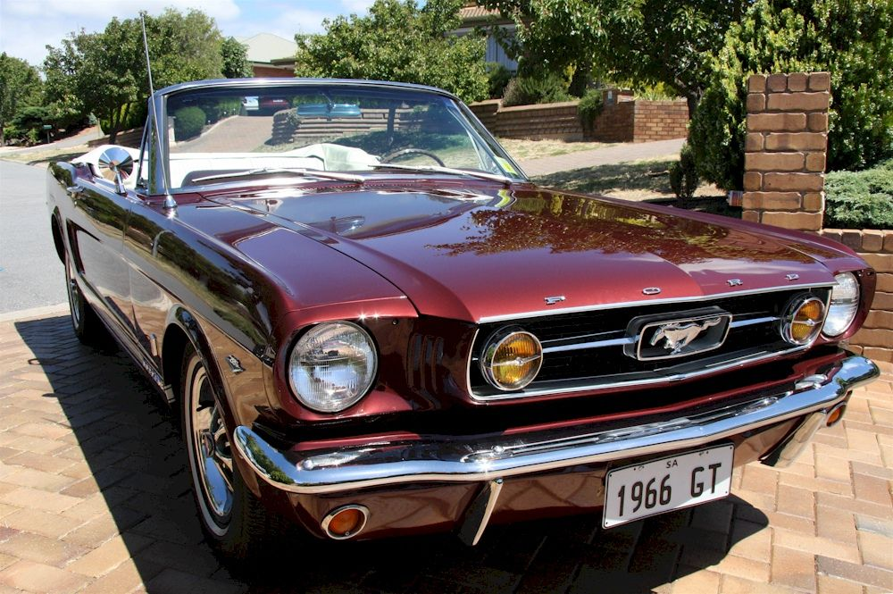 Vintage Burgundy 1966 Ford Mustang Gt Convertible