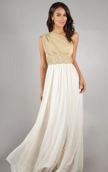 Refined Draped Bodice Long Dress with Embellished Waistband