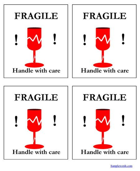 Fragile Handle With Care Shipping Label - Multiple Per Page Free