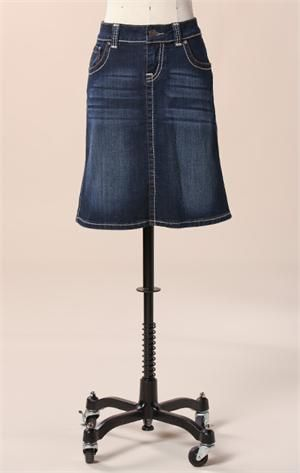 It's hard to find straight jean skirts, but I like this one.  Great stitching!