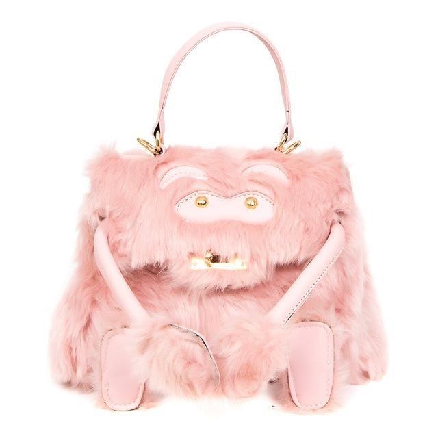 c94e2f956b Top-handle Cute Pink Girls Smiling Faux Fur Women Crossbody Shoulder ...