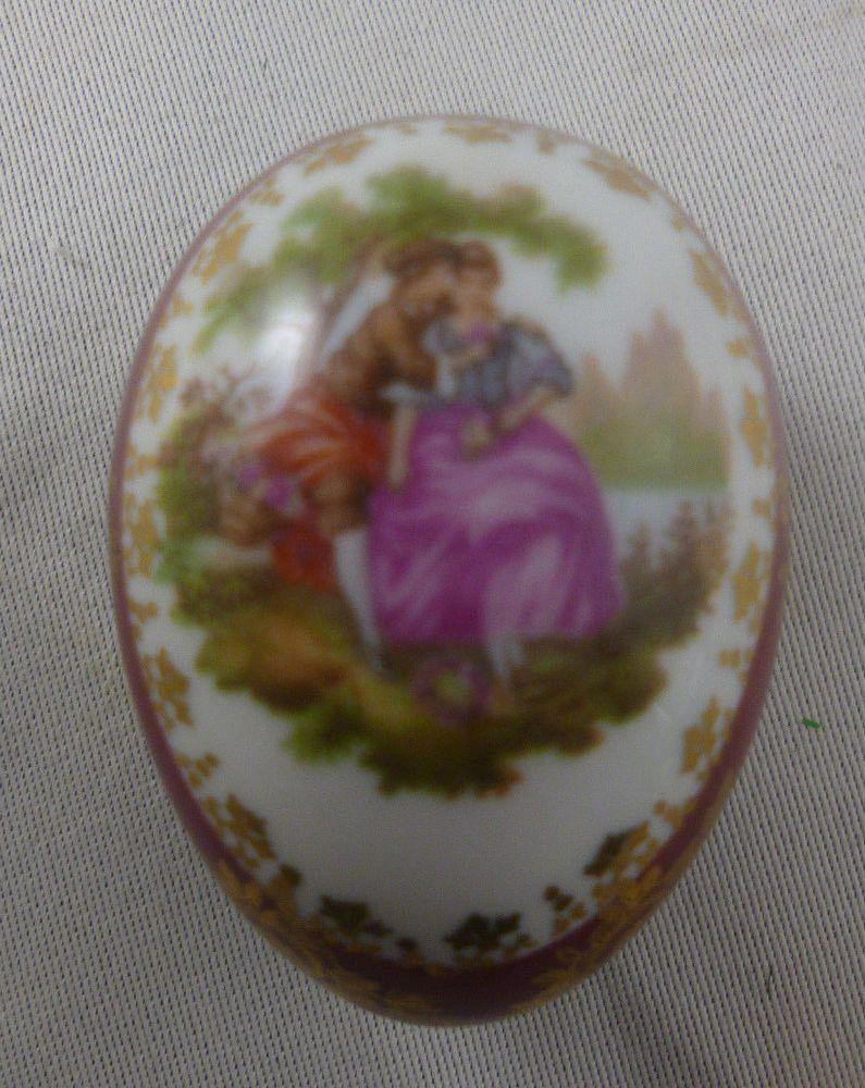Limoges Porcelain Heart Shaped Trinket Box La Reine Courting Couple Fragonard