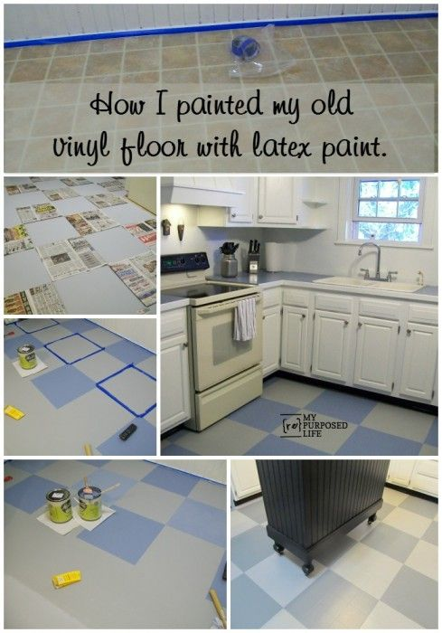 my repurposed life how to paint an old ugly vinyl kitchen floor - Painted Kitchen Floor Ideas