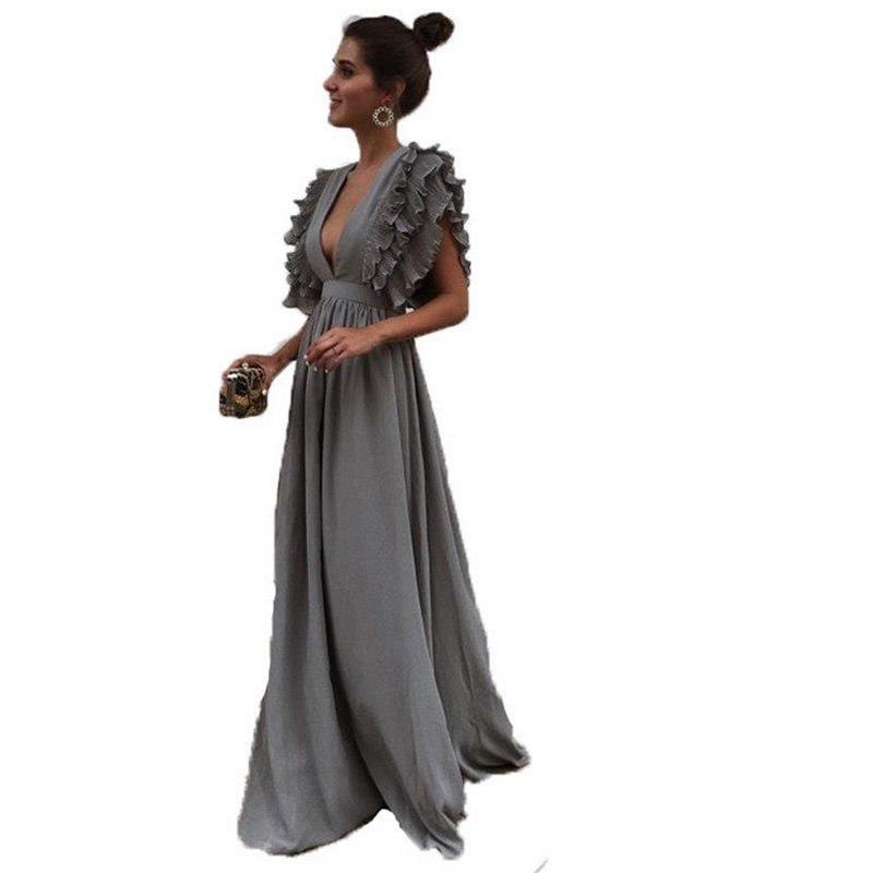 Sexy Backless Dress Women Ruffles Short Sleeve Long Maxi Dress Deep V Neck Party Dress Femme Beach Formal Sundress Vestidos #shortbacklessdress