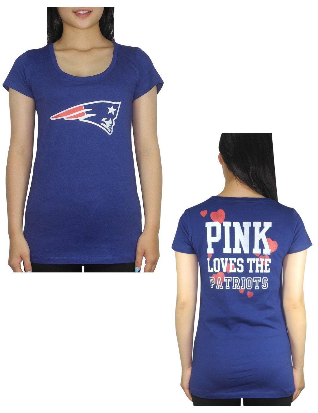 sale retailer e13d5 4b6e6 Amazon.com: Pink Victoria's Secret Womens NE Patriots T ...
