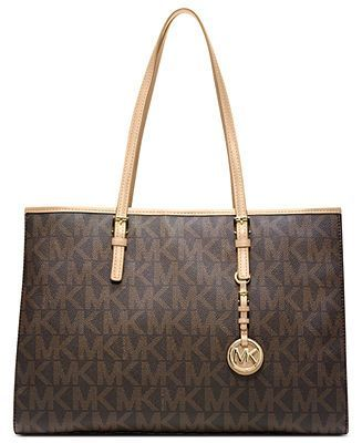 Michael Kors Handbag Jet Set Large Signature Travel Tote Handbags Accessories Macys