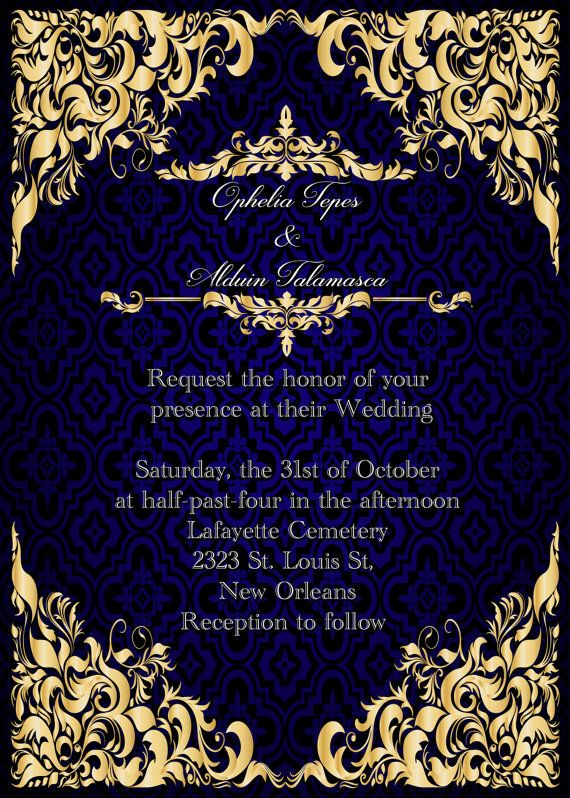 Elegant Royal Blue And Gold Wedding Invitation Save The Date Rsvp