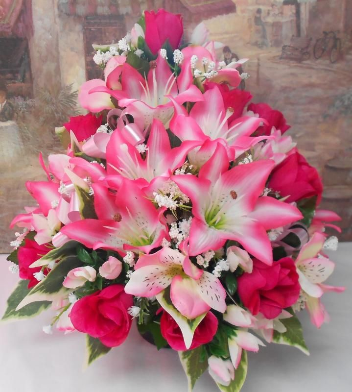 Memorial Day Flower Arrangements For Grave Artificial Silk Flower Front Facing Arrangement Posy Flower Arrangements Diy Flower Arrangements Memorial Flowers