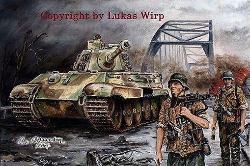 """Panzer Tiger II Königstiger und Grenadiere der Division """"Hohenstaufen"""" überqueren und sichern die Rheinbrücke von Arnheim.  Im Zuge der englischen Operation Market Garden sprangen 36.000 Fallschirmjäger in der Region ab, um strategisch wichtige Ziele im Handstreich zu nehmen. Unter anderem die Rheinbrücke der Stadt Arnheim.  Was die Engländer jedoch nicht wussten war, dass in dieser Region die vollständige und aufgefrischte deutsche Division """"Hohenstaufen"""" stationiert war."""